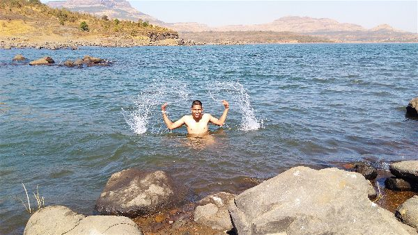 bath in the morbe dam