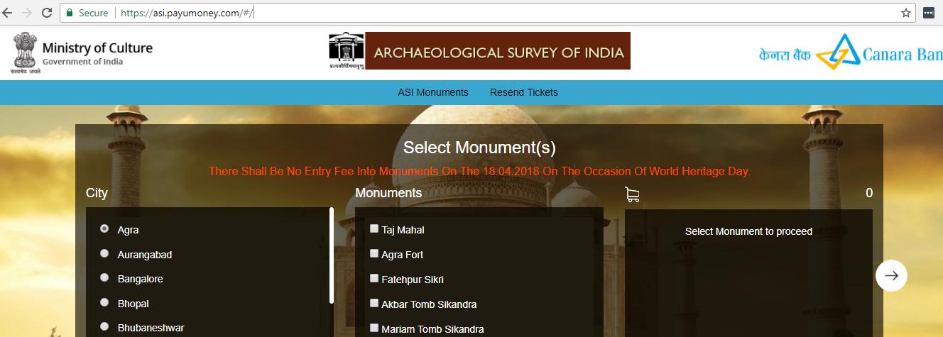 monument tickets online